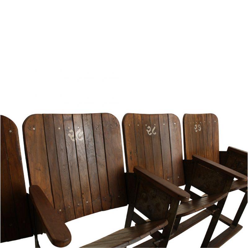 Original 4er-Kinosessel aus Holz