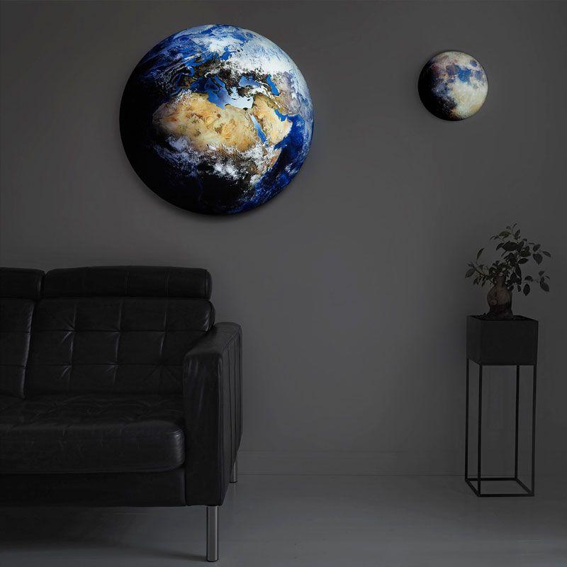 LED-Dekolampe Erde / blauer Planet, gross, Ø78cm – Mood hängend mit Mond 35cm