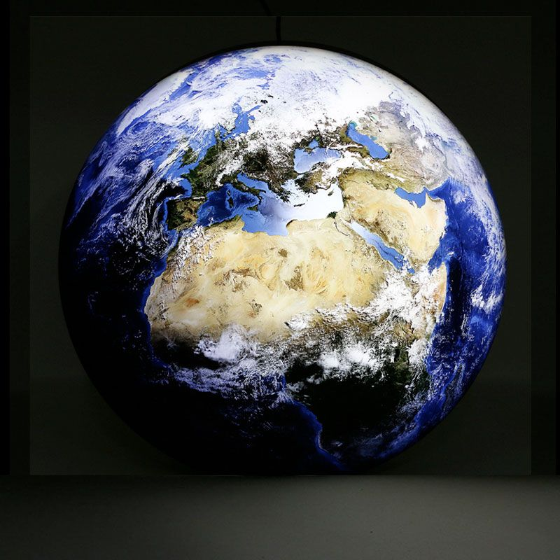 LED-Dekolampe Erde / blauer Planet, gross, Ø78cm – dunkel