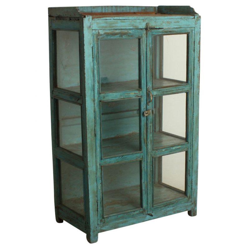 Glasvitrine aus Altholz, hellblau