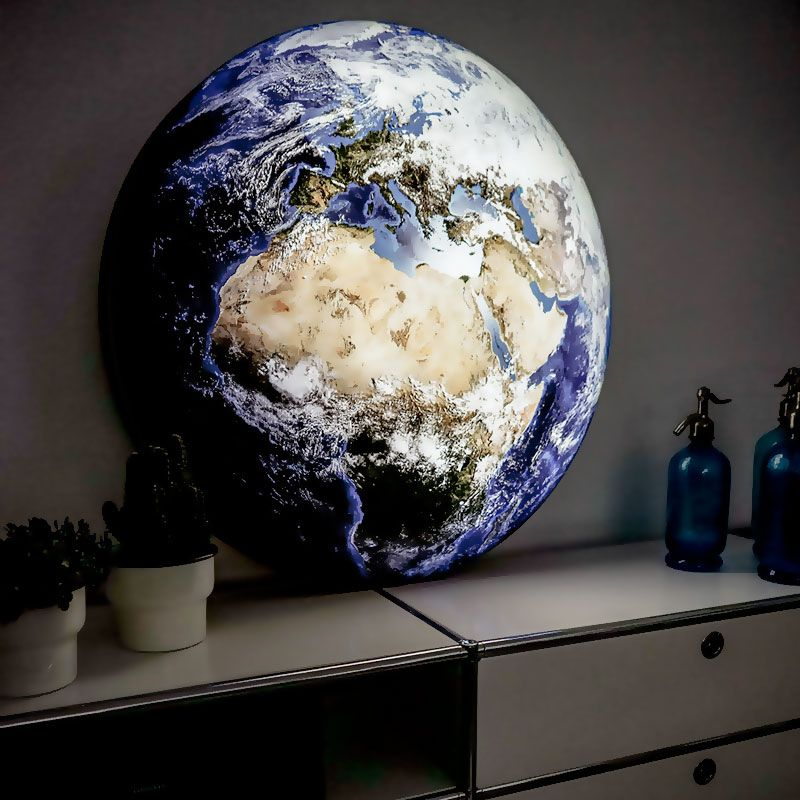 LED-Dekolampe Erde / blauer Planet, gross, Ø78cm – Mood stehend