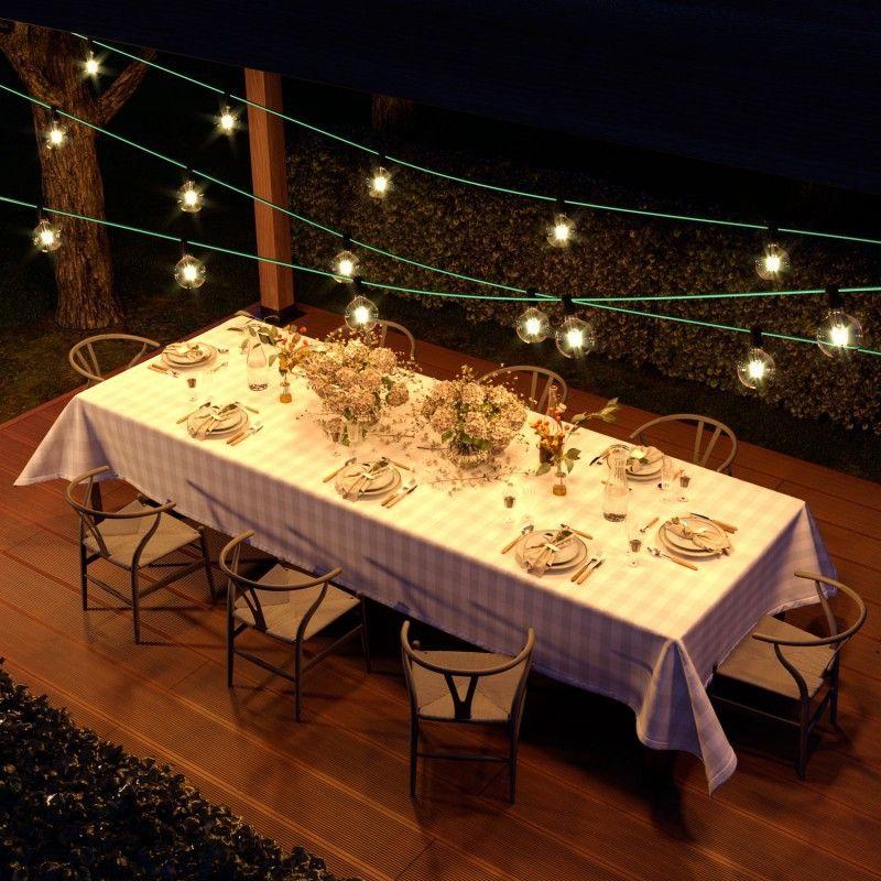 Lichterketten Komplettkit 7.5 m für Aussenbereich mit 5 Lampenfassungen / Opalgrün
