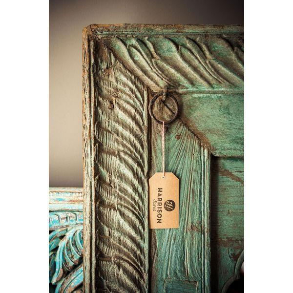 Antiker Spiegel mit geschnitztem Teakholzrahmen, rauchblau
